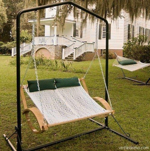 Двойное кресло-гамак на металлическом каркасе