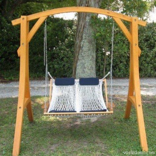 Двойное кресло-гамак на деревянном каркасе