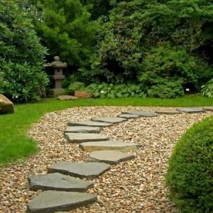 Zen Path in a Japanese botanical garden in Prague