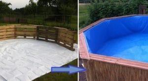 бассейн из деревянных поддонов